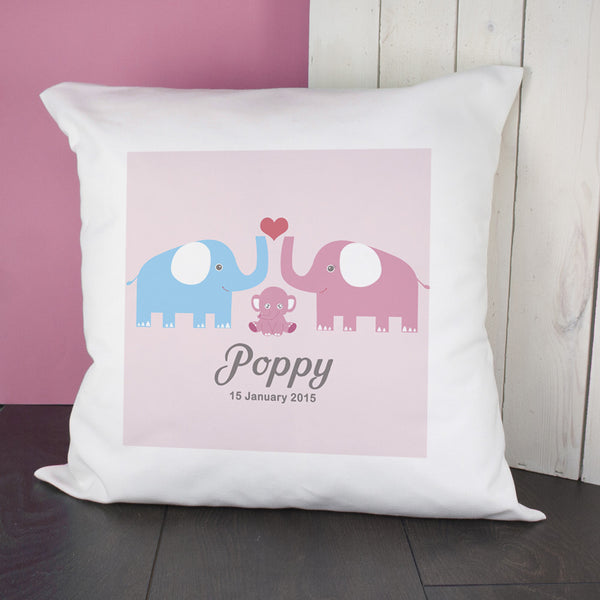 Baby Girl's Personalised Elephants Cushion Cover