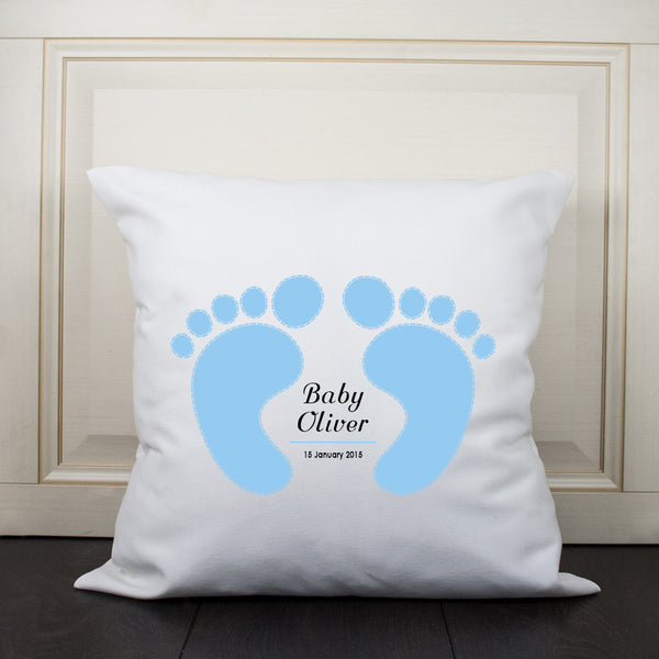 Baby Boy's Blue Feet Design Personalised Cushion Cover