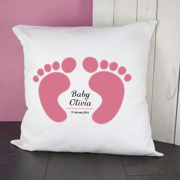 Baby Girl's Personalised Pink Feet Cushion Cover