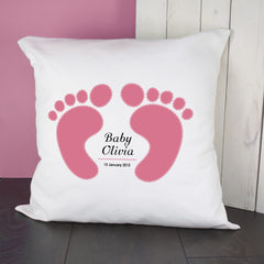 Baby Girl's Personalised Pink Feet Cushion Cover - Luxe Gift Store