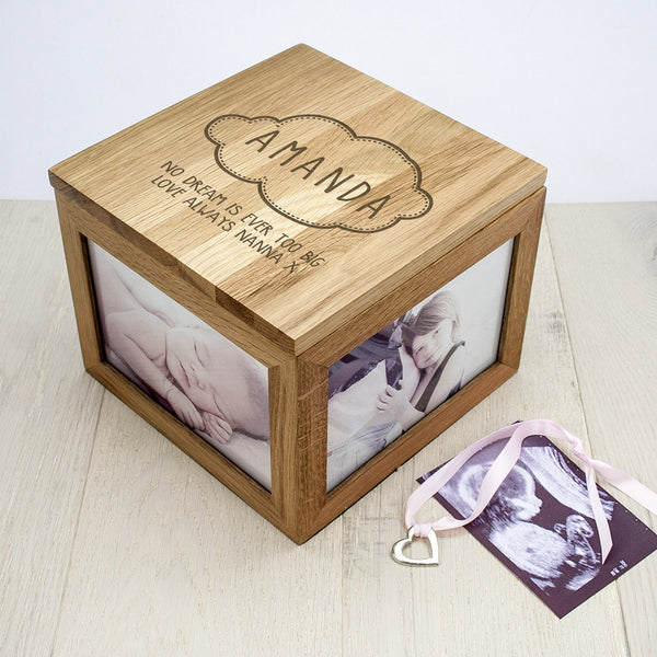 Baby Girl's Name in Cloud Personalised Oak Photo Keepsake Box