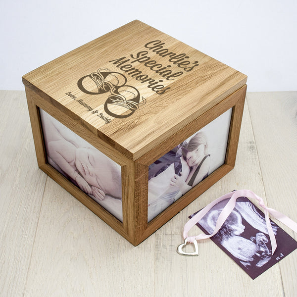 Baby Boy's Shoes Oak Personalised Photo Keepsake Box