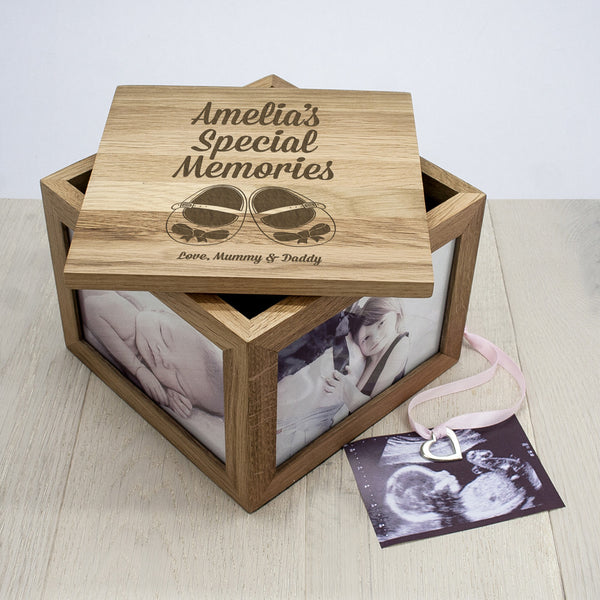 Baby Girl's Shoes Personalised Oak Photo Keepsake Box