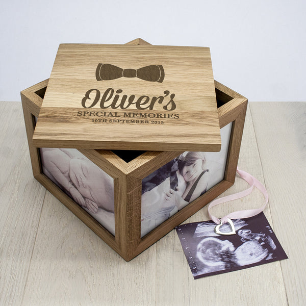 Baby Boy's Bow Tie Personalised Oak Photo Keepsake Box