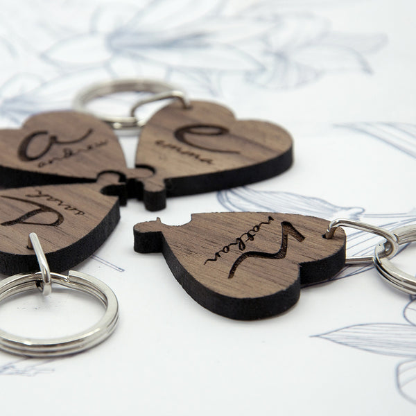 Best Friends Forever Personalised Heart Wooden Keyring