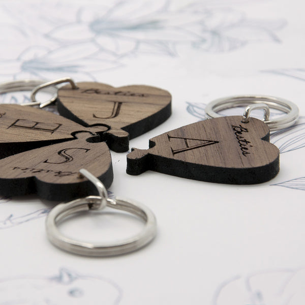 Besties Personalised Lucky Clover Wooden Keyring