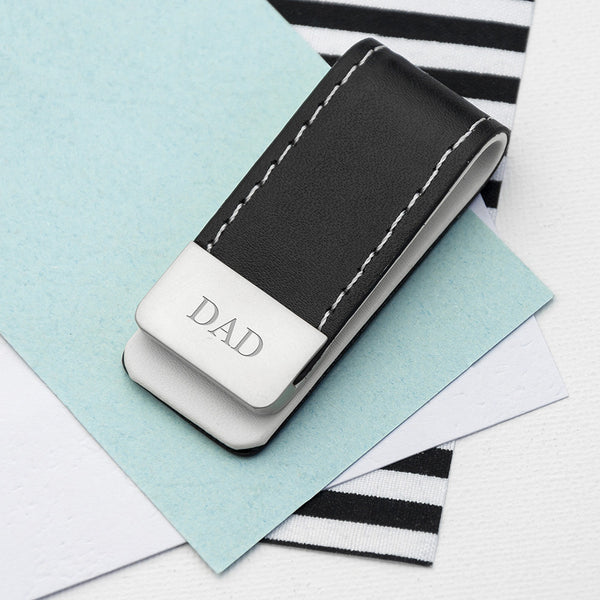 Black Leather Personalised Money Clip