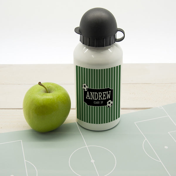 Boy's Football Striped Personalised Water Bottle