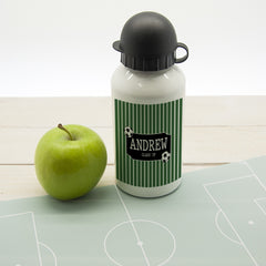 Boy's Football Striped Personalised Water Bottle - Luxe Gift Store