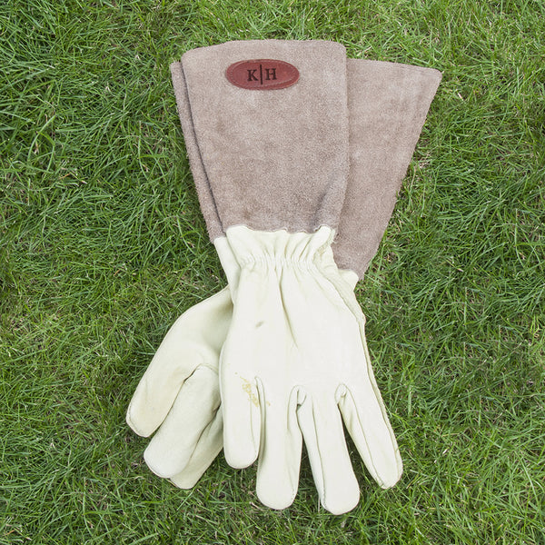 Men's Personalised Leather Gardening Gloves - Brown or Blue