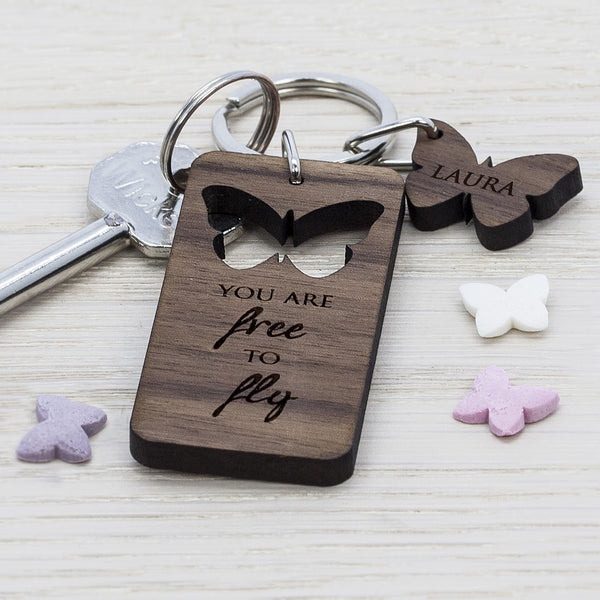 Butterfly 'You Are Free To Fly' Personalised Walnut Keyring