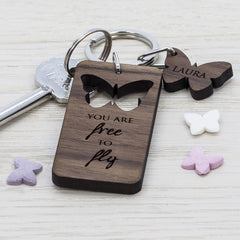 Butterfly 'You Are Free To Fly' Personalised Walnut Keyring - Luxe Gift Store
