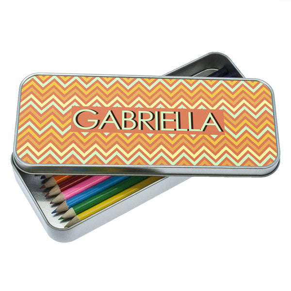 Orange Chevron Pattern Personalised Pencil Case