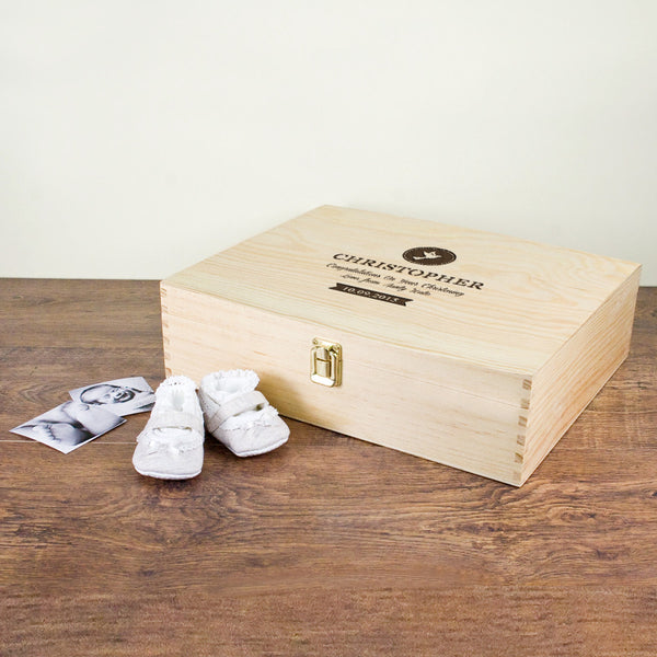 Christening Personalised Memory Box - Dove or Cross Design