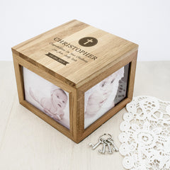 Christening Personalised Oak Photo Keepsake Box - Dove or Cross Design - Luxe Gift Store