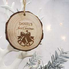 Baby's First Christmas Bell Personalised Hanging Wooden Decoration - Unisex - Luxe Gift Store