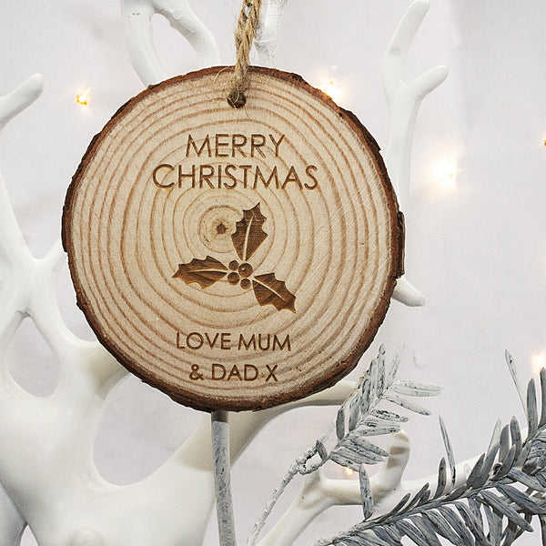 Christmas Personalised Holly Hanging Wooden Decoration