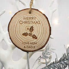 Christmas Personalised Holly Hanging Wooden Decoration - Luxe Gift Store
