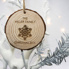 Christmas Snowflake Personalised Hanging Wooden Decoration - Luxe Gift Store