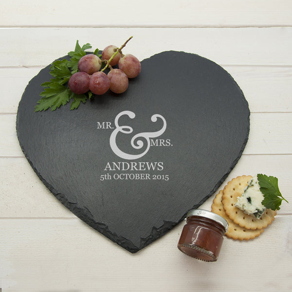 Classic Couple's Personalised Heart Slate Cheese Board