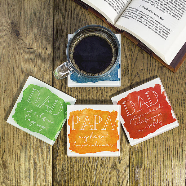 Coastal Watercolour Personalised Coaster - Multicoloured
