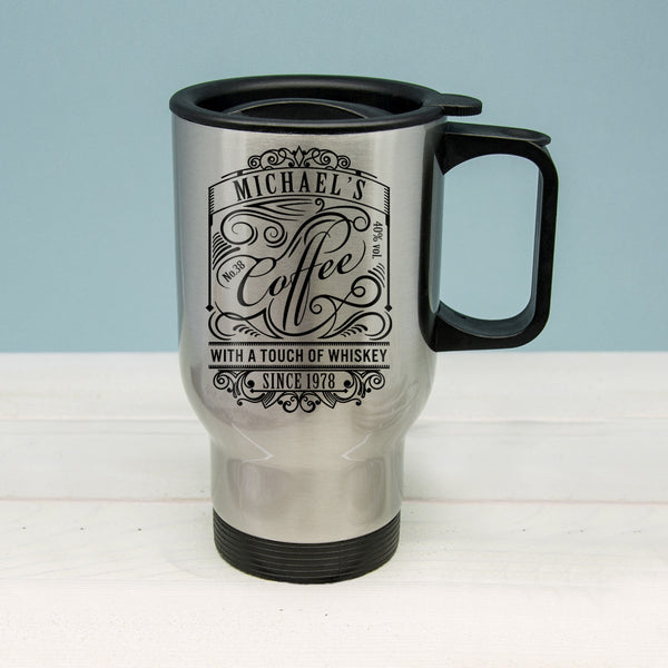 'Coffee With a Touch of Whiskey' Personalised Silver Travel Mug