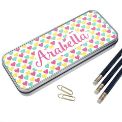 Girl's Colourful Heart Pattern Personalised Pencil Case - Luxe Gift Store - 2