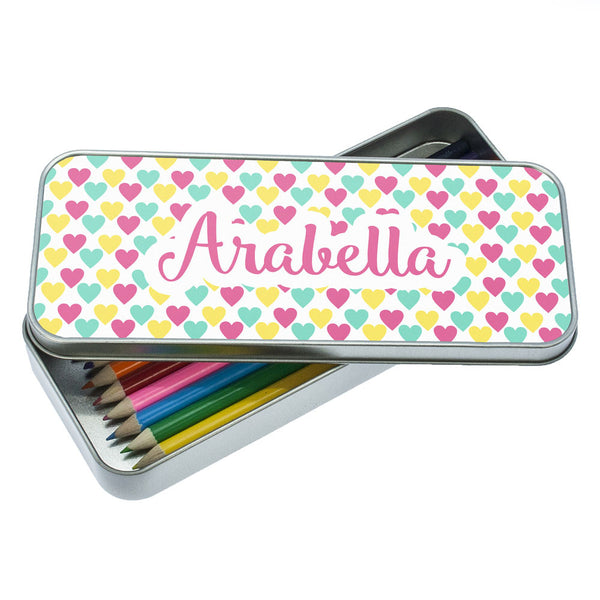 Girl's Colourful Heart Pattern Personalised Pencil Case