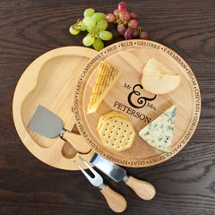 Connoisseur Mr and Mrs Personalised Cheese Board Set - Luxe Gift Store