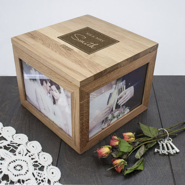 Contemporary Mr & Mrs Personalised Oak Photo Keepsake Box
