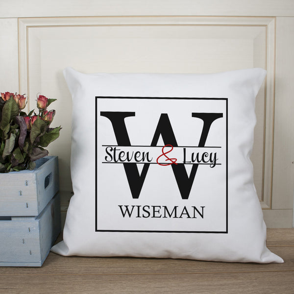 Couple's Personalised Monogram Cushion Cover