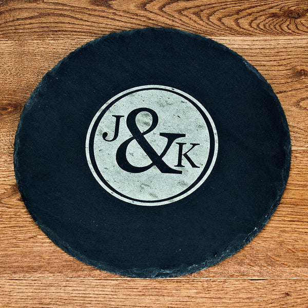 Couple's Personalised Monogram Round Slate Cheese Board
