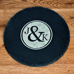 Couple's Personalised Monogram Round Slate Cheese Board - Luxe Gift Store