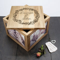 Couple's Personalised Oak Photo Keepsake Box with Floral Frame - Luxe Gift Store