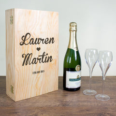 Couple's Romantic Personalised Wine Box - Luxe Gift Store