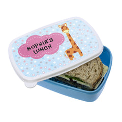 Kid's Cute Giraffe Personalised Lunch Box - Blue or Pink - Luxe Gift Store - 1