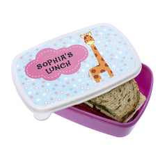 Kid's Cute Giraffe Personalised Lunch Box - Blue or Pink - Luxe Gift Store