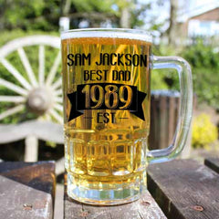 Dad's 'Established In' Personalised Beer Glass Tankard - Luxe Gift Store