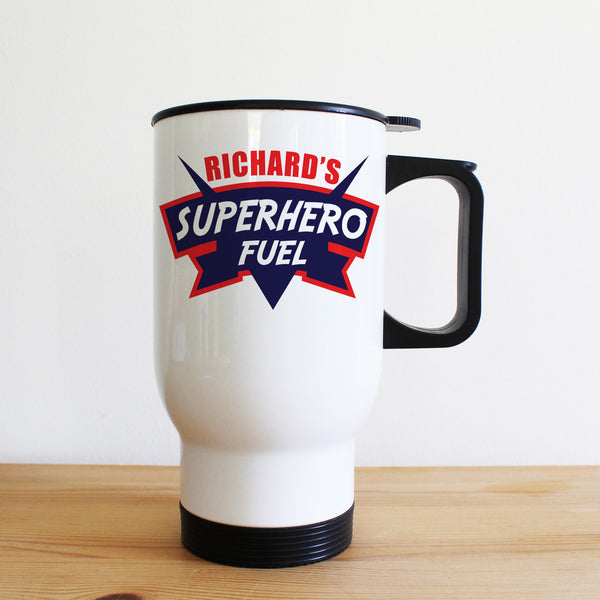 Dad's Superhero Fuel Personalised Travel Mug