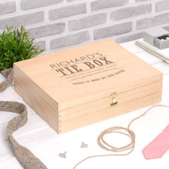 Dashing Gentleman's Personalised Tie & Accessory Wooden Box - Luxe Gift Store