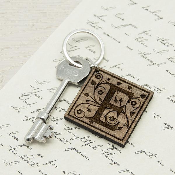 Decorative Initial Personalised Wooden Keyring