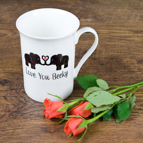 'Elephants In Love' Personalised Bone China Mug