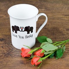 'Elephants In Love' Personalised Bone China Mug - Luxe Gift Store