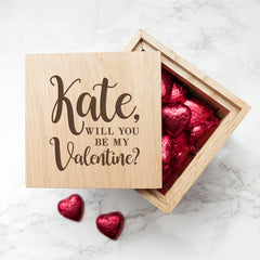 Engraved Be My Valentine Oak Photo Cube - Luxe Gift Store