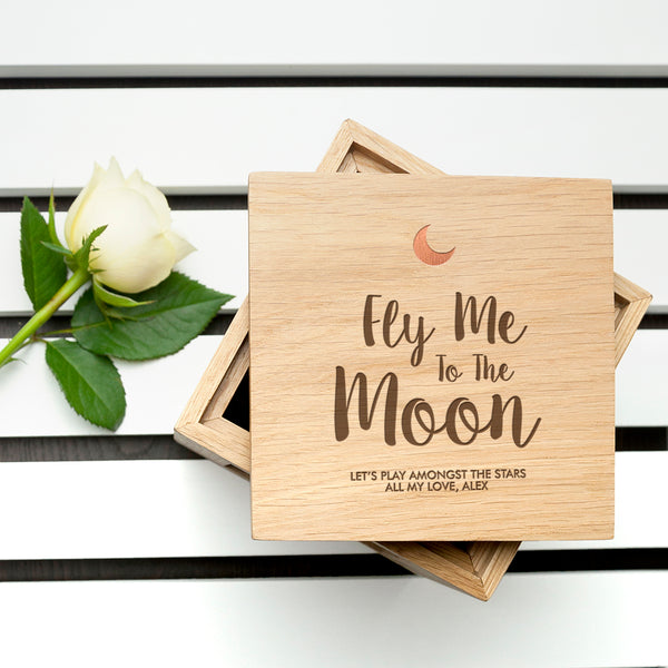 Engraved Fly Me To The Moon Oak Photo Cube