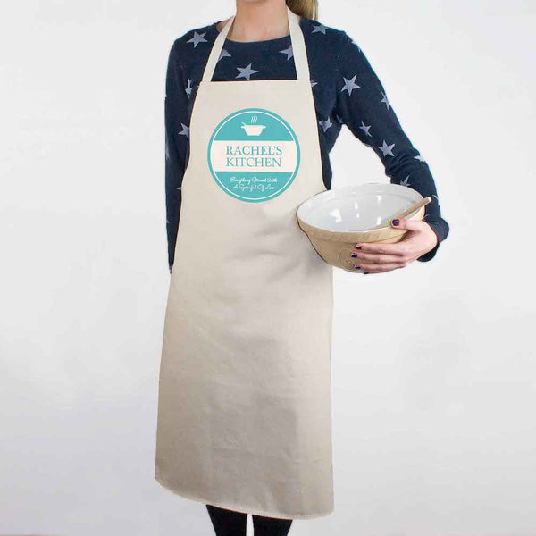 'Everything Stirred with Love' Personalised Apron - Pink, Blue or Green