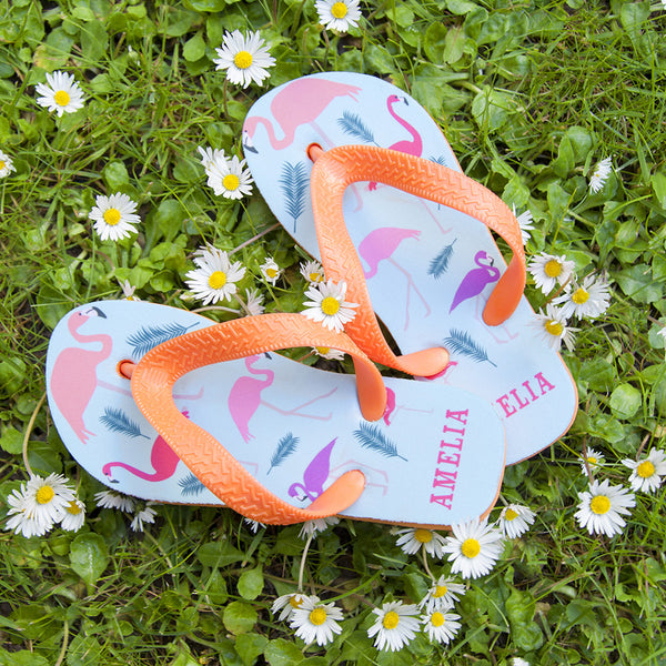 Kid's Personalised Fabulous Flamingos Flop Flops