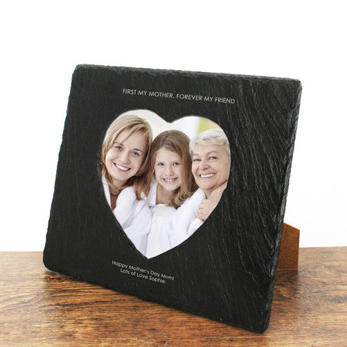Mum's 'Forever My Friend' Personalised Heart Slate Photo Frame
