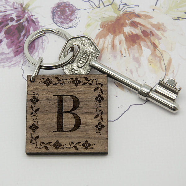 Floral Frame Initial Personalised Wooden Keyring