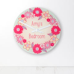 Flower Garland Personalised Little Girl's Wall Clock - Luxe Gift Store